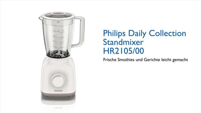 Philips Daily Collection Standmixer HR2105/00 400W, Glasbeh. (1,5l), 2Geschw.keiten+ Impulsfkt., ProBlend 4 Video 3